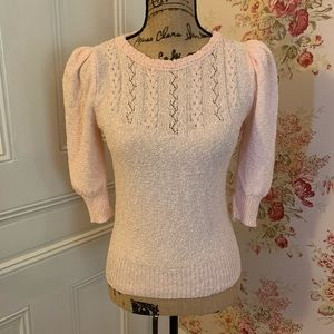 Vintage Light Pink Puff Sleeve Sweater